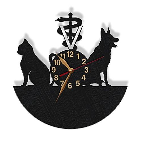 monastar Vet Clinic Wood Clock Veterinary Wall Clock Personalized Custom Clock Cat Dog Services Animal Health Wall Art Decor - Select Size, Color