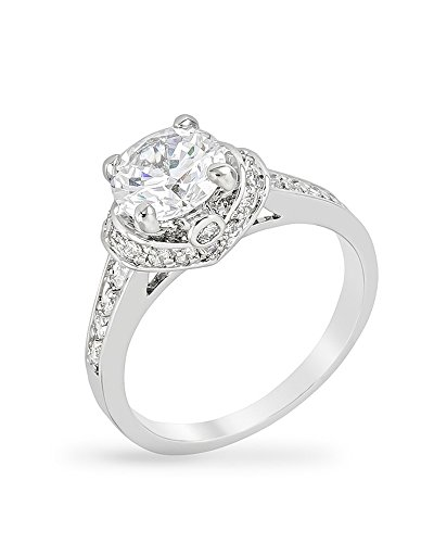 Genuine Rhodium Plated Engagement Ring with a Prong Set Clear CZ Center and Accent Stones Size 7