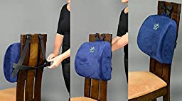 Smart Lumbar Support Back Cushion Pillow - for Lower Back Pain Relief by Liliyo, 3-Strap System (Blue)