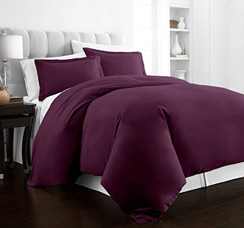 Beckham Hotel Collection Luxury Soft Brushed 2100 Series Microfiber Duvet Cover Set - Hypoallergenic - King/California King - Purple (King Cover Duvet Purple)