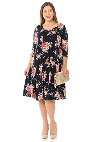 (Pastel by Vivienne Women's A-Line Trapeze Midi Dress Plus Size XXX-Large Floral Black Blush)