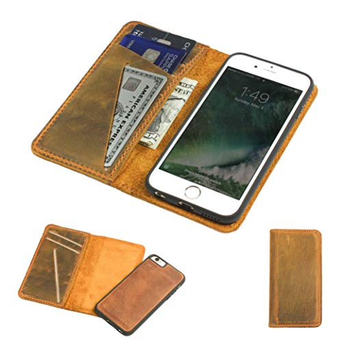 PEGAI Leather Magnetic iPhone 7 / iPhone 8 Wallet Folio - Distressed Leather Detachable iPhone 7/8 Wallet Case - McLean iPhone 7/8 | Cinnamon Brown