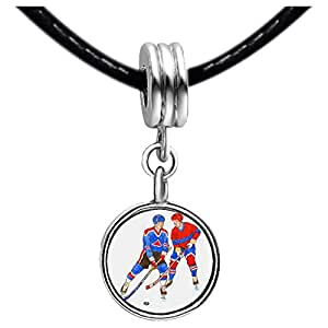 Chicforest Silver Plated Olympics two Hockey competitors Photo Topaz Crystal November Birthstone Flower dangle Charm Beads Fits Pandora Charm