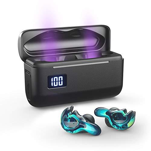 BRYWIN U-mini Bluetooth Earbuds Equiped with 365nm-Wavelength Lights, True Wireless Earbuds Waterproof IPX7 Bluetooth Earbuds Wireless Headphones Bluetooth Headphones(Cool Blue))