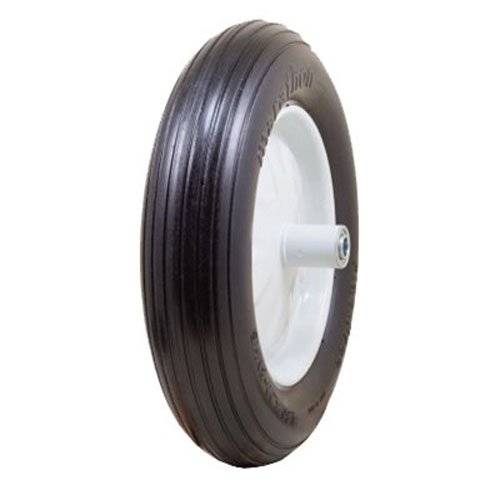 "Marathon 4.80/4.00-8"" Flat Free Wheelbarrow Tire on Wheel, 6"" Centered Hub, 5/8"" Ball Bearings, Ribbed Tread"