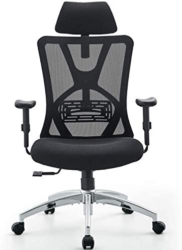Ticova Ergonomic Office Chair - High Back Desk Chair with Adjustable Lumbar Support & Thick Seat Cushion - 140°Reclining & Rocking Mesh Computer Chair with Adjustable Headrest, Armrest