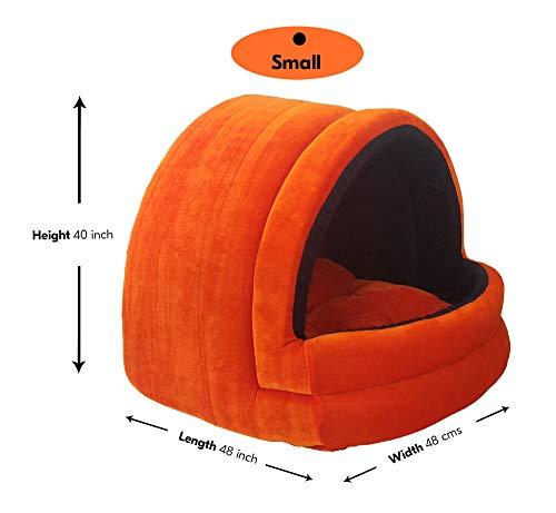 Hiputee Soft Velvet cave House for Cats & Little Dogs (Small, Orange-Black)