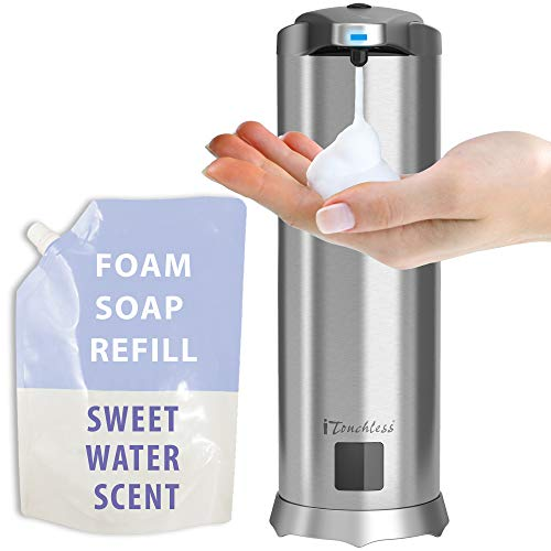 (iTouchless Ultraclean Automatic Sensor Foam Soap Dispenser, Rust-Free Touch-Free Stainless Steel (Sweet)