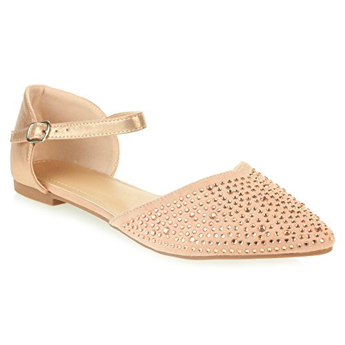 AARZ LONDON Womens Ladies Diamante Evening Wedding Comfort Casual Flat Sandals Shoes Size Pink VBKVbM