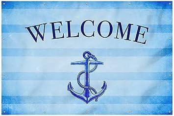 Welcome Nautical Stripes Heavy-Duty Outdoor Vinyl Banner 9x6 CGSignLab