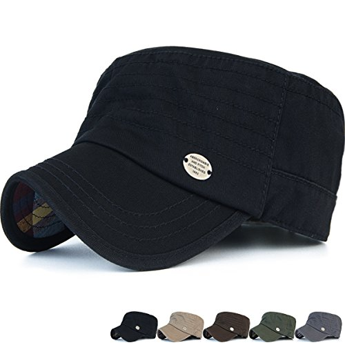 Back Cadet Cap - Rayna Fashion Unisex Adult Cadet Caps Military Hats Stripe Low Profile Black
