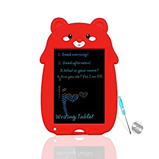 VNVDFLM Writing&Drawing Tablet Doodle Board Toys for Kids, Birthday Gift for 4-5 Years Old Kids Colorful LCD Bear Writing Tablet with Stylus Smart Paper for Drawing Writer (Red-XX)