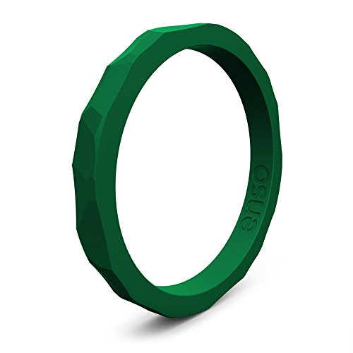 Enso Silicone Ring/Wedding Band. Hammered Design Men Women Color: Emerald. Size: 7 -