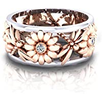 khamchanot Chic Daisy White Sapphire 925 Silver Ring Fashion Women Wedding Jewelry Sz 6-10 (7)