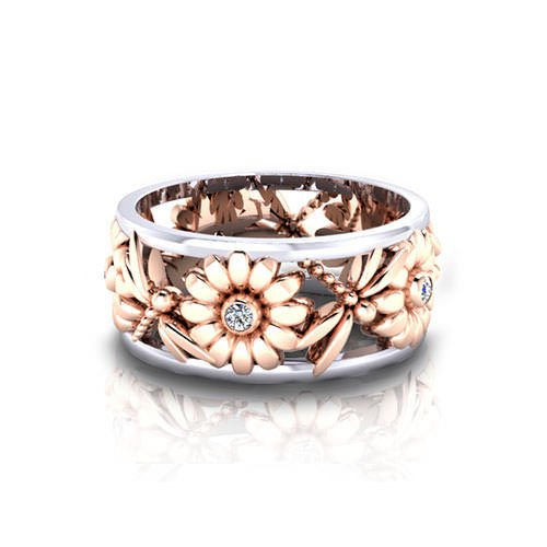 Charming Flower Cubic Zircon Rhinestone Rings for Anniversary Party Gifts N7