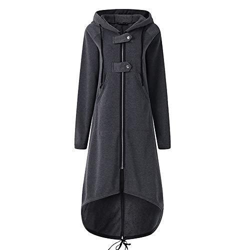 JOFOW Womens Hooded Long Cardigans Jackets Short Front Long Tail Irregular Hem Casual Cool Straight Slim Coats Plus Size (S =US:0-2,Gray)