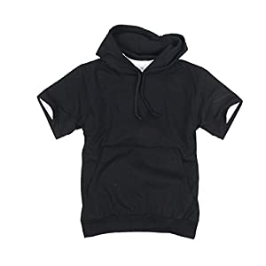 myglory77mall Mens Short Sleeve Basic Light Cotton 100% Hooded Tshirt Top Tee Hoody Hoodie