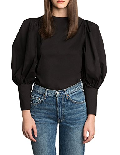 Puffy Sleeve Shirt - HaoDuoYi Women Basic Puffy Lantern Sleeve Button Down Top Blouse (Black, X-Large)