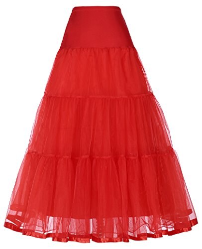 GRACE KARIN Stylish Full Long Petticoat Skirts for Big and Tall Women (0X,Red)