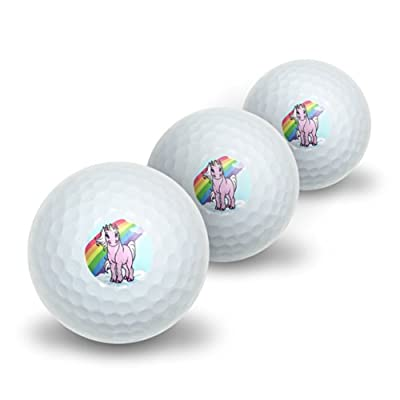 Pink Unicorn on Cloud - Rainbow Pony Novelty Golf Balls 3 Pack