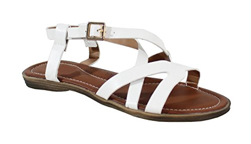 Plate Style White Cuir Femme Sandale By Shoes vEfqF