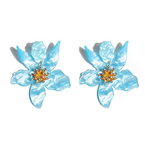 Boho Stud Earrings for Women - Chic Flower Statement Earrings with Gold Flower Bud, Great for Sister, Mom, Lover and Friends (Blue) ()