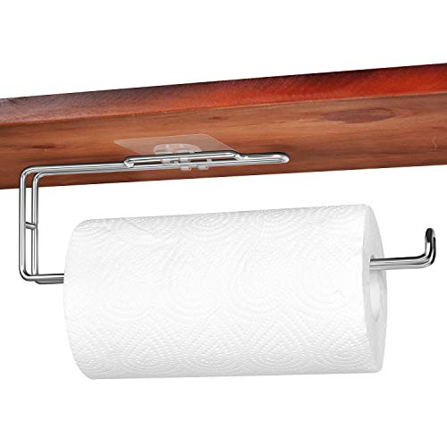 EROCY Paper Towel Holder with Adhesive Under Cabinet for Kitchen,Wall Mount & No Drilling - SUS 304 Stainless Steel
