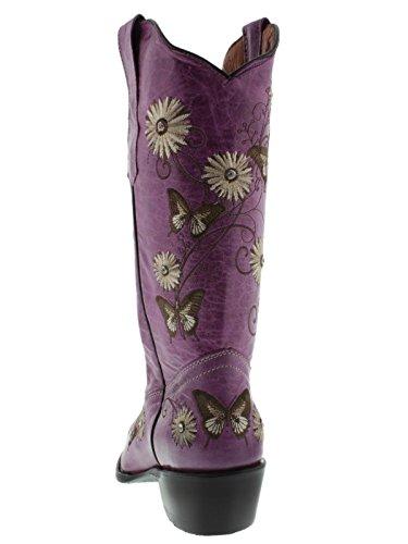 Womens Paars 2 Vlinder & Bloemen Geborduurde Lederen Cowboylaarzen Knip Toe Paarse Afwisselend