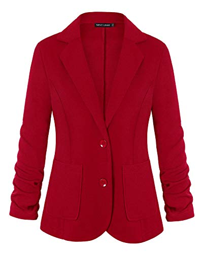 Unifizz Women's Color Work Office Long Sleeve Button Lined Blazer with Pocket Red XXL