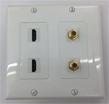 1 HDMI v1.4 ETHERNET COAX CABLE TV 1 CUSTOM WHITE DOUBLE GANG WALL PLATE