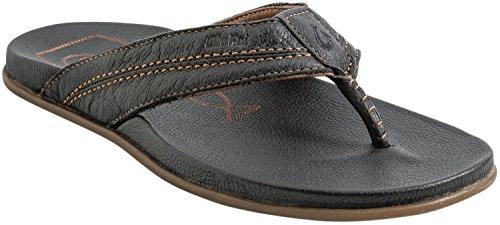 Nuevo Olukai Hombres Mohalu Sandal Rubber Pu Leather Black