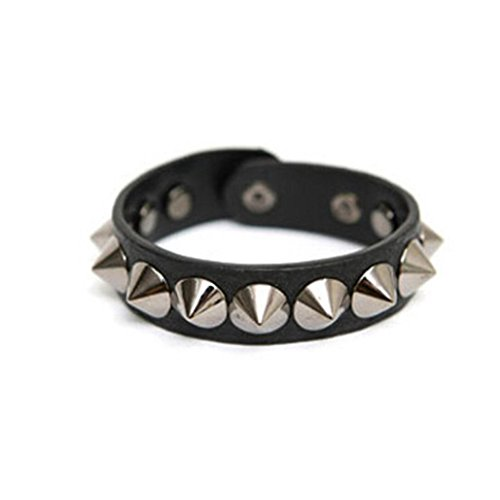 Moyveva Men Women Metal Spike Studded Bracelet Punk Rock Biker Wide Strap Leather Bracelet (Black) 3 Arm White Beaded Crystal