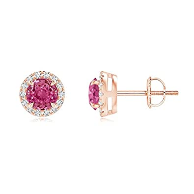 b439568ae02 Amazon.com  Claw-Set Pink Sapphire and Diamond Halo Stud Earrings in 14K Rose  Gold (4mm Pink Sapphire)  Jewelry