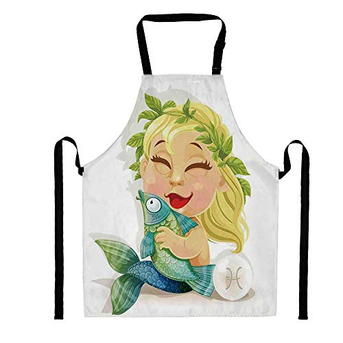YOLIYANA Baby Pisces Symbol Holding Fish Nemo Horoscope Collection Venus Little Mermaid Boho,Unisex Kitchen Bib Apron with Adjustable Neck for Cooking Baking Gardening, Multicolor ()