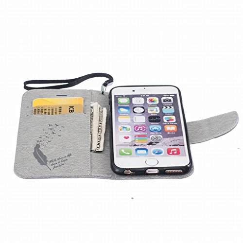 Cover iphone 6s plus (5.5) Custodia, Ougger Portafoglio Card Slot PU Pelle Magnetico Stand Silicone Flip Bumper Protettivo Cover Case Custodia per Apple iphone 6s plus (5.5) Piuma Grigio
