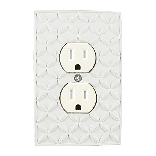 Meriville Colfax Electrical Outlet Wall Plate Cover, Hand Painted Single Duplex receptacle outlet cover, Off White