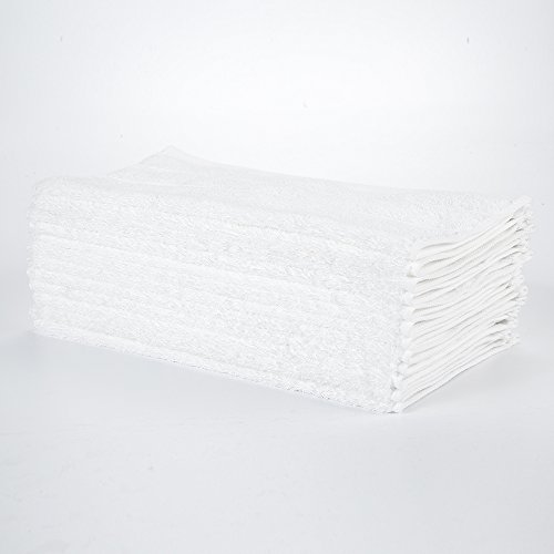 """HaoDuoYi 100% Cotton 16 Piece Washcloths 600GSM, Luxury, Soft,Spa and Hotel 13""""X13"""" White by HaoDuoYi"""