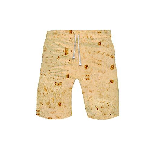 JOFOW Short Womens Mens Taco Tortilla Burrito Print Loose High Waist Midi Pants Cargo Chino Trousers Funny Costume Gift (S,Light Yellow) ()