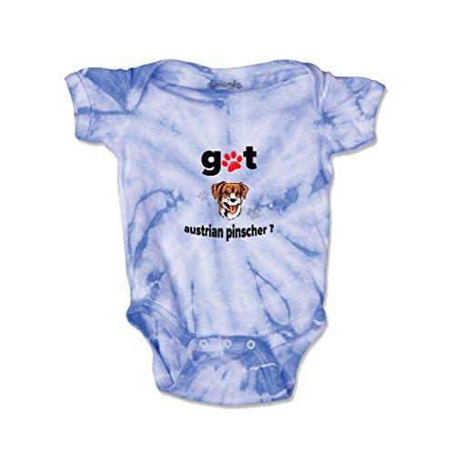 Pinscher Tie (AUSTRIAN PINSCHER DOG Got Baby Kid Tie Die Fine Jersey Bodysuit Carolina Blue 12 Months)