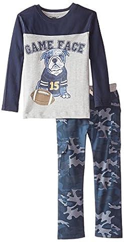 Kids Headquarters Little Boys' Color Block Tee with Blue Camo Pants, Multi, 6 - Color Shoes Pants