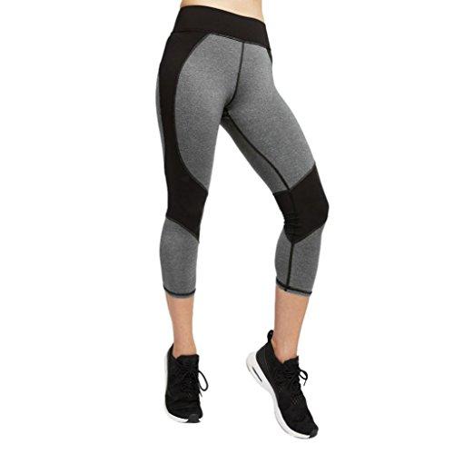 (Women Skinny Leggings,Clearance! AgrinTol Women Skinny Leggings Patchwork Yoga Fitness Sports Capri Pants (XL, Gray))