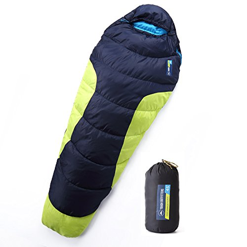 All Season XL Mummy Sleeping Bag - Perfect for Camping, Hiking, Backpacking & Travel. Comfort Temperature Range of 45-60°F. Fits Adults up to 66. 290T Tough Ripstop Waterproof Shell & High-Loft Fill