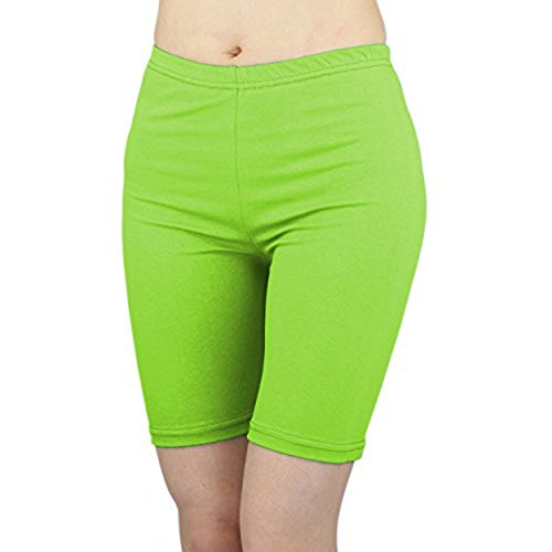 Lime Green Apparel - Women's Stretchy Cotton Lycra Above Knee Short Active Leggings (X-Large, Lime Green)