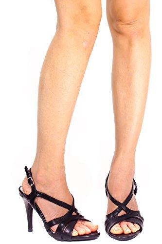 Elegante Lettera Pu Punta Aperta Tracolla Allover Cinturino Alla Caviglia Fibbia Stiletto Scarpe Tacco Alto Nere
