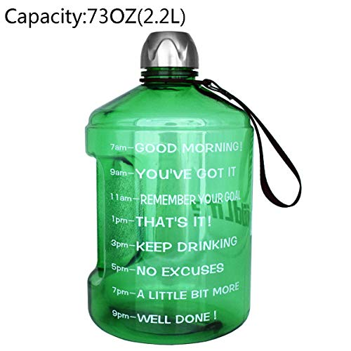 Capacity Light Green - BuildLife 1 Gallon Water Bottle Motivational Fitness Workout with Time Marker |Drink More Water Daily | Clear BPA-Free | Large 128 Ounce/73OZ/43OZ of Water Throughout The Day (73OZ-Light Green, 73OZ)