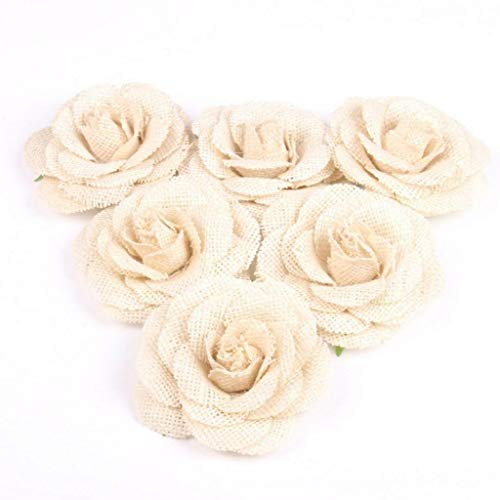 6pcs Natural Jute Hessian Burlap Rose Flowers Wedding Party Decor DIY - Petal Template Cone