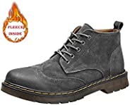 Oxford Men's Fashion Ankle Work Boot Casual Simple and Comfortable Retro Brogue Style Lacing Up High Top B