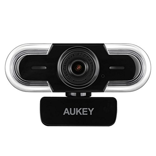 AUKEY Webcam 2K HD with Auto Light Adjustment, Manual Focus and Mic, Live Streaming Camera, USB Webcam for Widescreen Video Calling and Recording, Compatible with Windows, Mac OS and Android by AUKEY