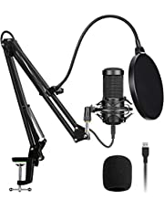 PNNUO USB Microphone Kit,192KHZ/24BIT Mic Podcast Condenser Microphone with Professional Sound Chipset,Recording Microphone for PC Gaming,Streaming Podcasting,YouTube