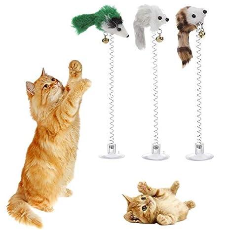 Amazon.com: Juguetes de gato divertidos con plumas elásticas ...